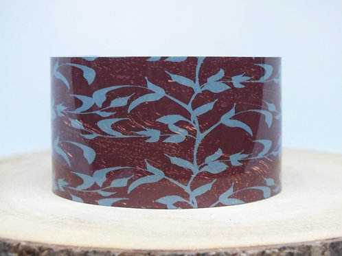 Teal Brown Floral Cuff Bracelet