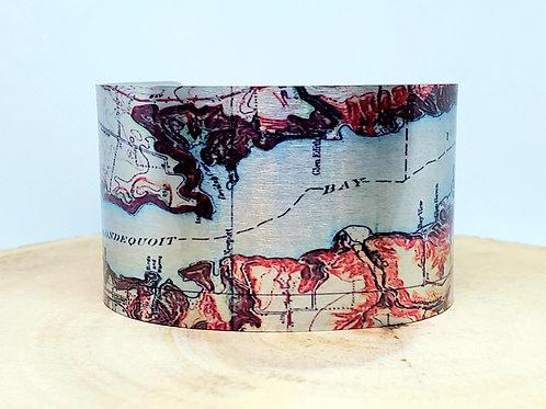 Irondequoit Bay New York Map Cuff Bracelet