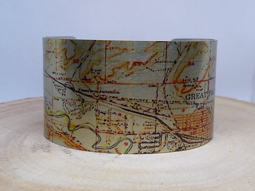 Great Falls Montana 1949 Map Cuff Bracelet