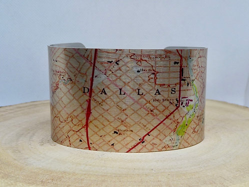Dallas Texas Map Cuff Bracelet