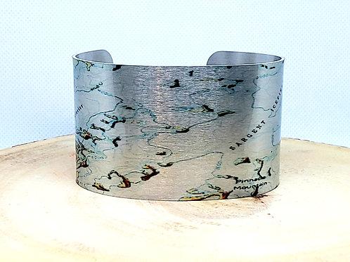 Sargent Ice Field Alaska Map Cuff Bracelet