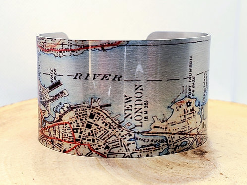 New London Connecticut Map Cuff Bracelet