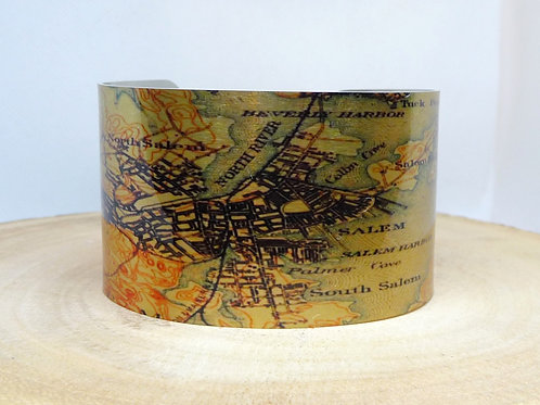 Salem Massachusetts Map Cuff Bracelet