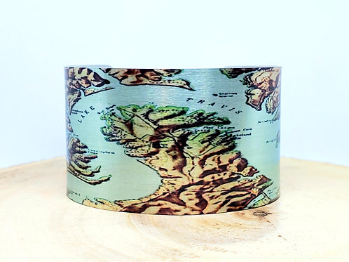 Lake Travis Texas Map Cuff Bracelet