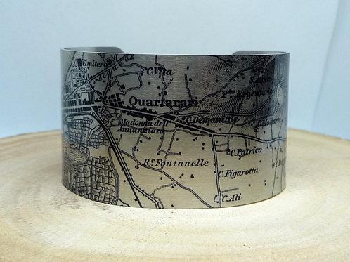 Southern Italy Map Cuff Bracelet