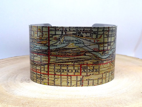 Spokane Washington Map Cuff Bracelet