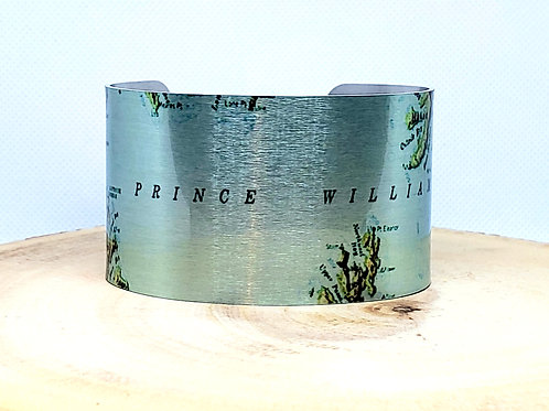 Prince William Sound Alaska Map Cuff Bracelet