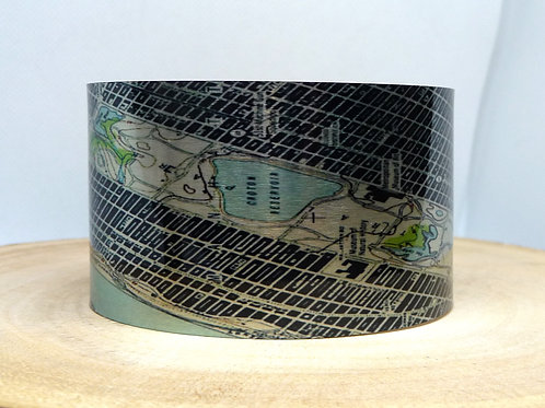 New York Central Park Map Cuff Bracelet