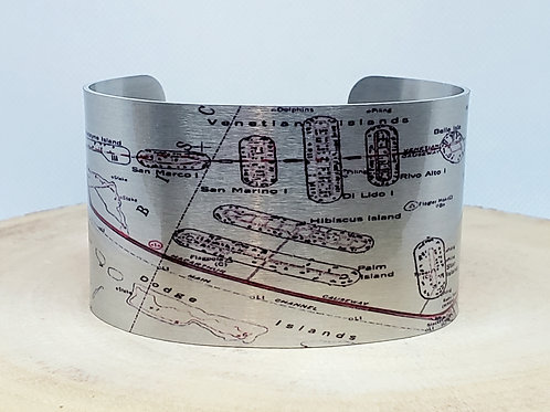Miami Beach Florida Map Cuff Bracelet