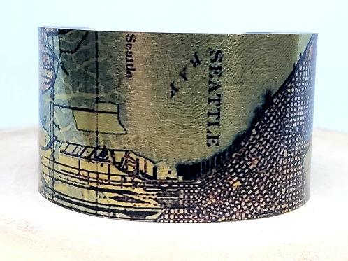 Seattle Washington Map Cuff Bracelet