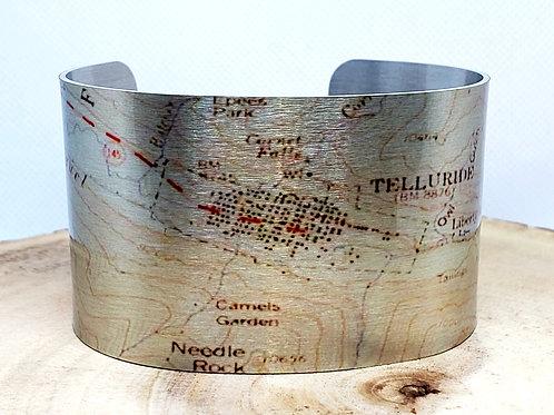 Telluride Colorado Map Cuff Bracelet