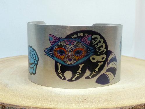 Raccoon Sugar Skull Cuff Bracelet