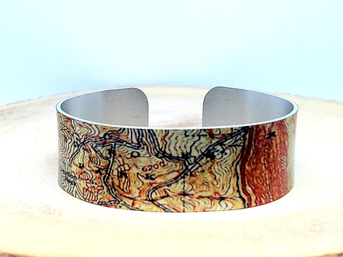 Red Rocks Morrison Colorado Slim Map Cuff Bracelet