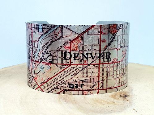 Denver Colorado Map Cuff Bracelet