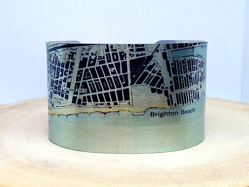 Coney Island New York Map Cuff Bracelet