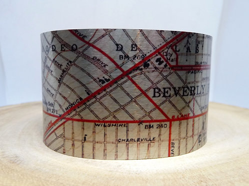 Beverly Hills California Map Cuff Bracelet