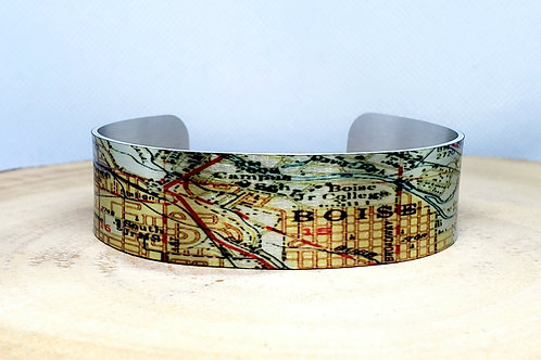 Boise Idaho Slim Map Cuff Bracelet