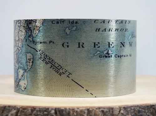 Greenwich Connecticut Map Cuff Bracelet