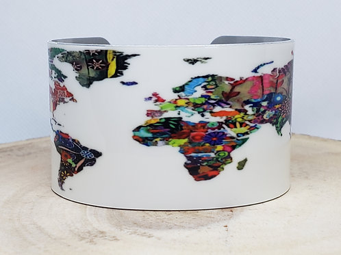 World Bohemian Map Cuff Bracelet -
