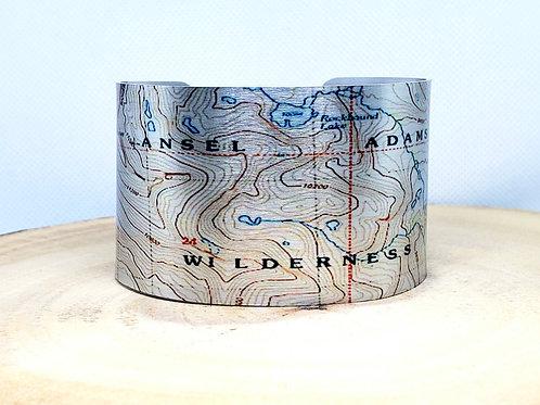 Ansel Adams Wilderness California Map Cuff Bracelet
