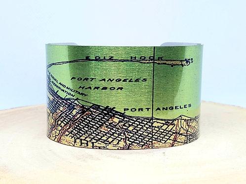 Port Angeles Washington 1918 Map Cuff Bracelet