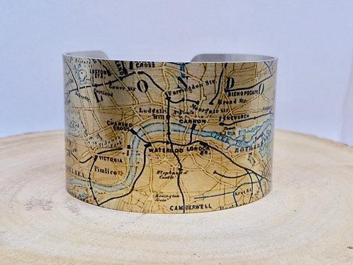 London England 1874 Map Cuff Bracelet