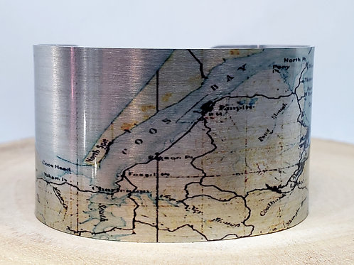 Coos Bay Oregon Map Cuff Bracelet