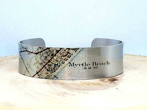 Myrtle Beach South Carolina Slim Map Cuff Bracelet