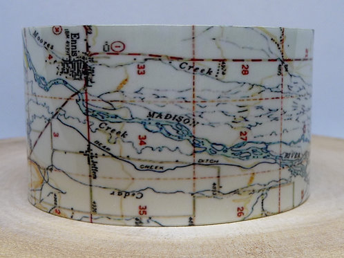 Madison River Montana Map Cuff Bracelet