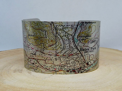 Estes Park Colorado Map Cuff Bracelet