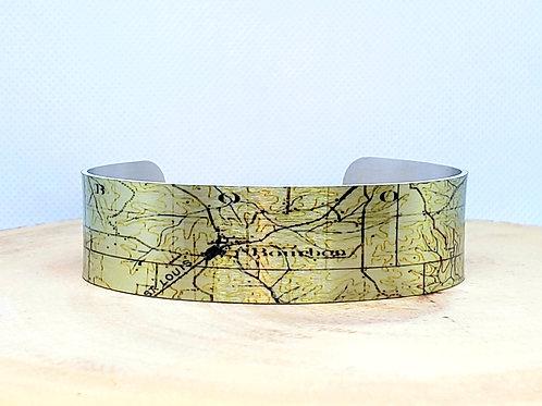 Bourbon Missouri Slim Map Cuff Bracelet