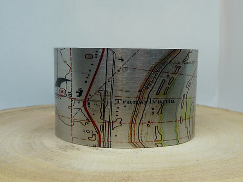 Transylvania Louisiana Map Cuff Bracelet