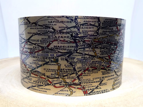 Paris France Metropolitan Map Cuff Bracelet