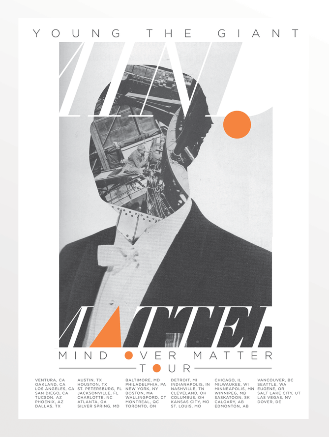 Young The Giant, 'Mind Over Matter Tour' poster, Warner Music Group 2013