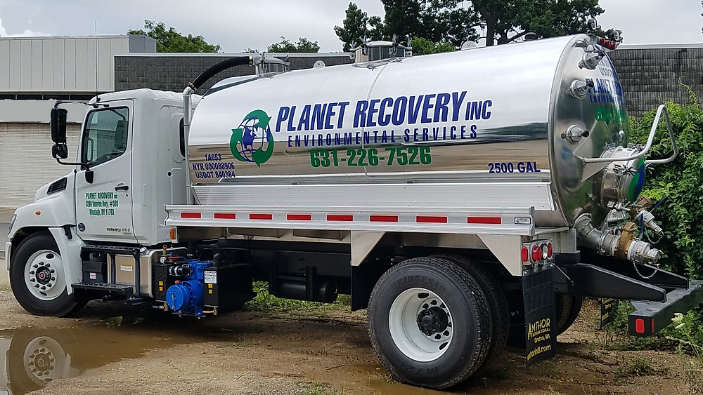PLANET EARTH RECYCLING RECOVERY NEW USED OIL VAC TRUCK NY LONG ISLAND 11793