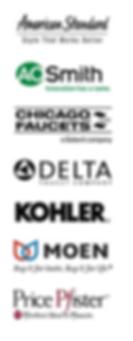 American Standard, AOSmith, Chicago Faucets, DELTA, KOHLER, MOEN, Price Pfister