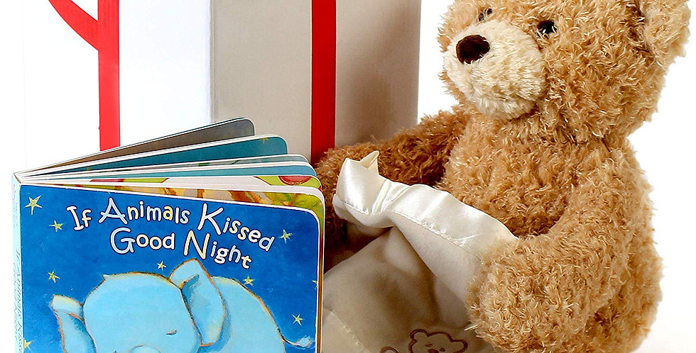 Gund peek-a-boo bear animated plush with a bedtime story book