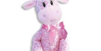 Pink giraffe rattle , 9 inch , plush baby toy