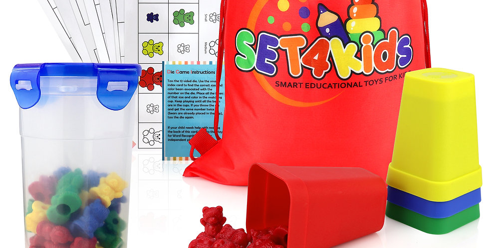 Counting Bears 3-Size with 4 Sorting/Stacking Cups, 12 Face Dice, Activity Cards
