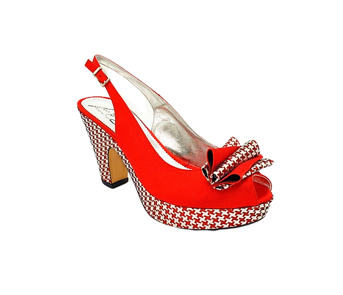 Tina, trendy chess platform wedges in red