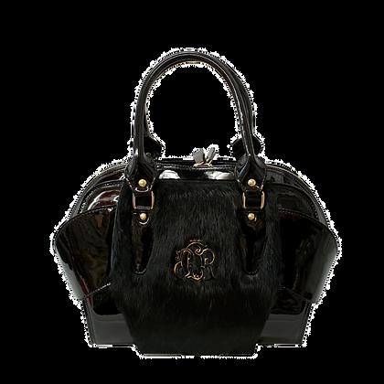 Cerruti black faux fur luxury leather handbag