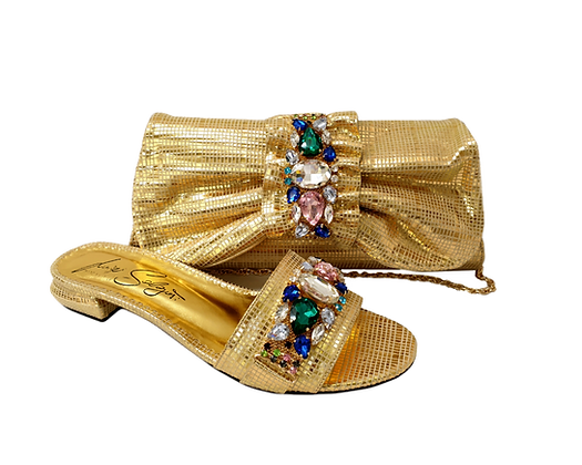 Valerie, jewel embellished gold low wedding sandals and matching bag