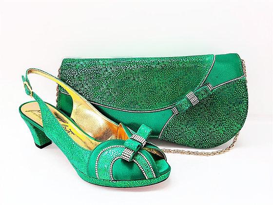 Sheila, Salgati green low heel platform shoes and bag wedding set