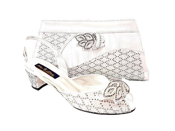 New Chiara, silver Mary Shoes stone adorned low heel wedding shoes and bag set