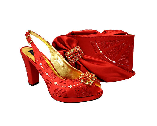 Emma, MaryShoes red mid-height wedding shoes and matching bag set