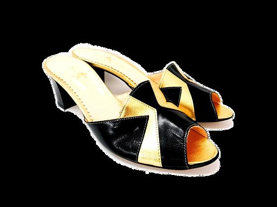 Alice, black and gold mid block heel sandals