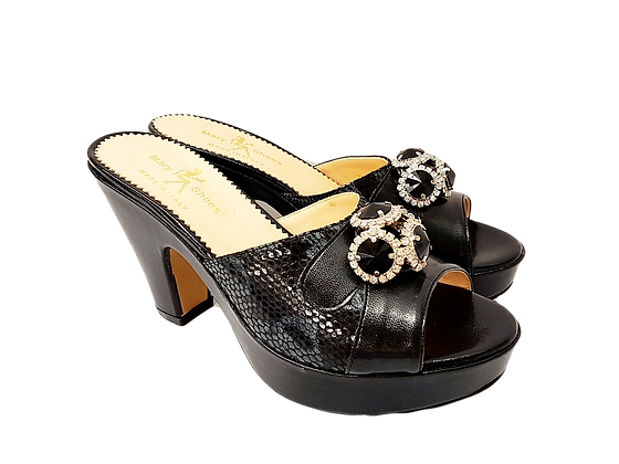 Black Mary Shoes croc-effect leather sandals