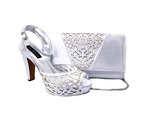 Alexa, Mary Shoes silver laser-cut high heel wedding shoes and matching bag set