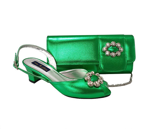 Francesca, Mary Shoes green low heel wedding shoes and matching bag set