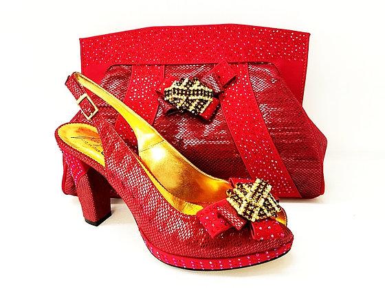 Sharon, Salgati burgundy mid-height platform shoes and bag set